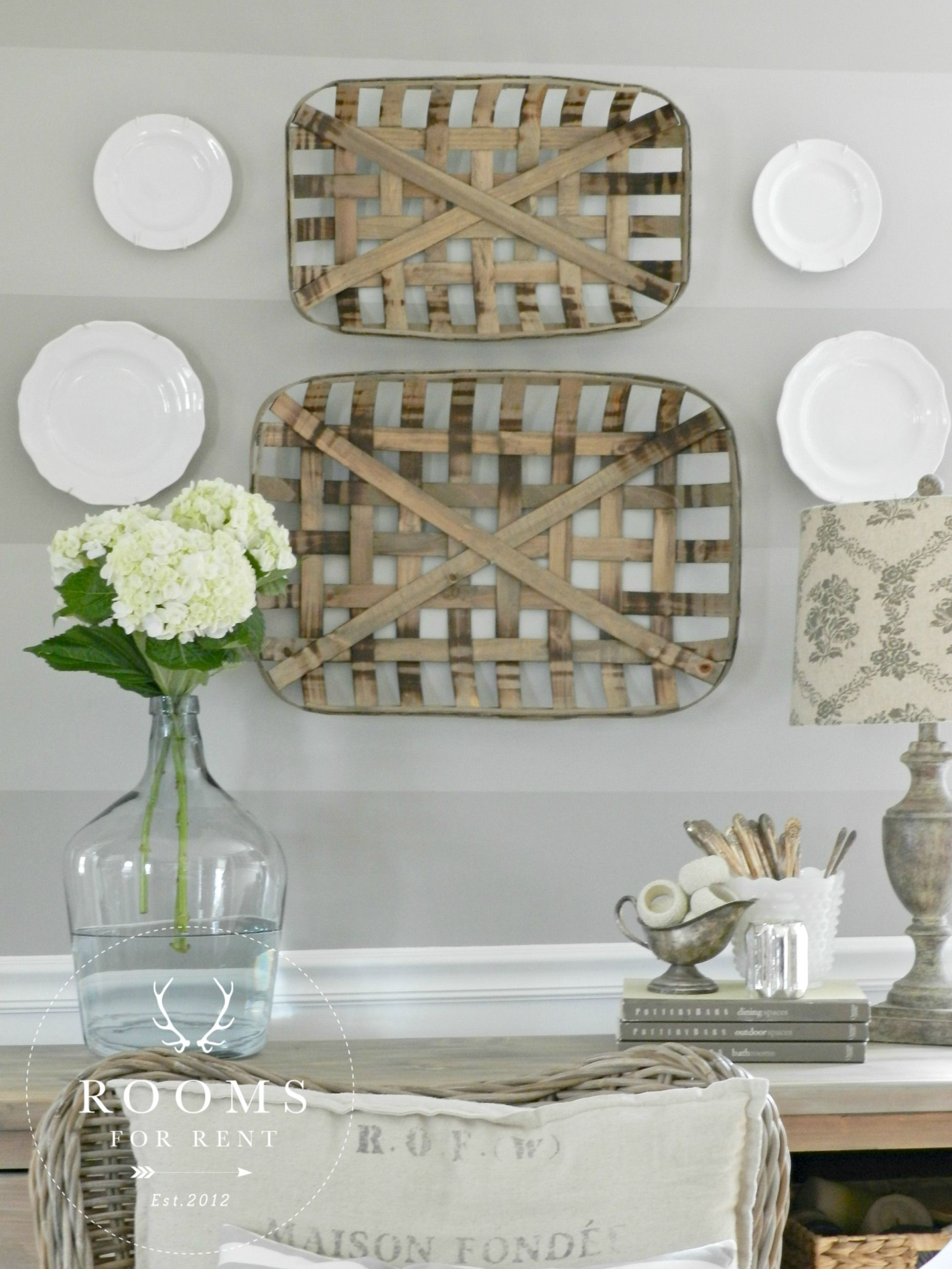 Tobacco Baskets wall decor & a Giveaway Kitchen wall