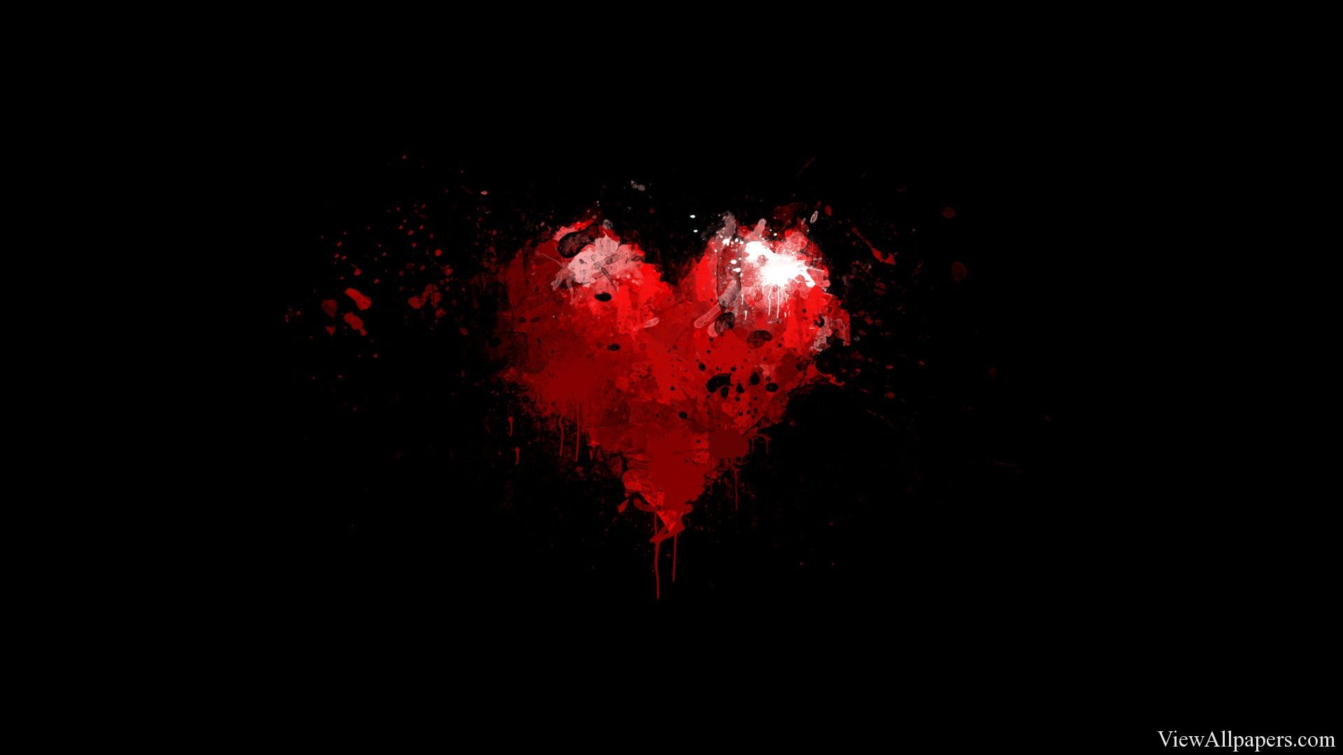 Painted Red Heart on Black Background Wallpaper | 13 ...