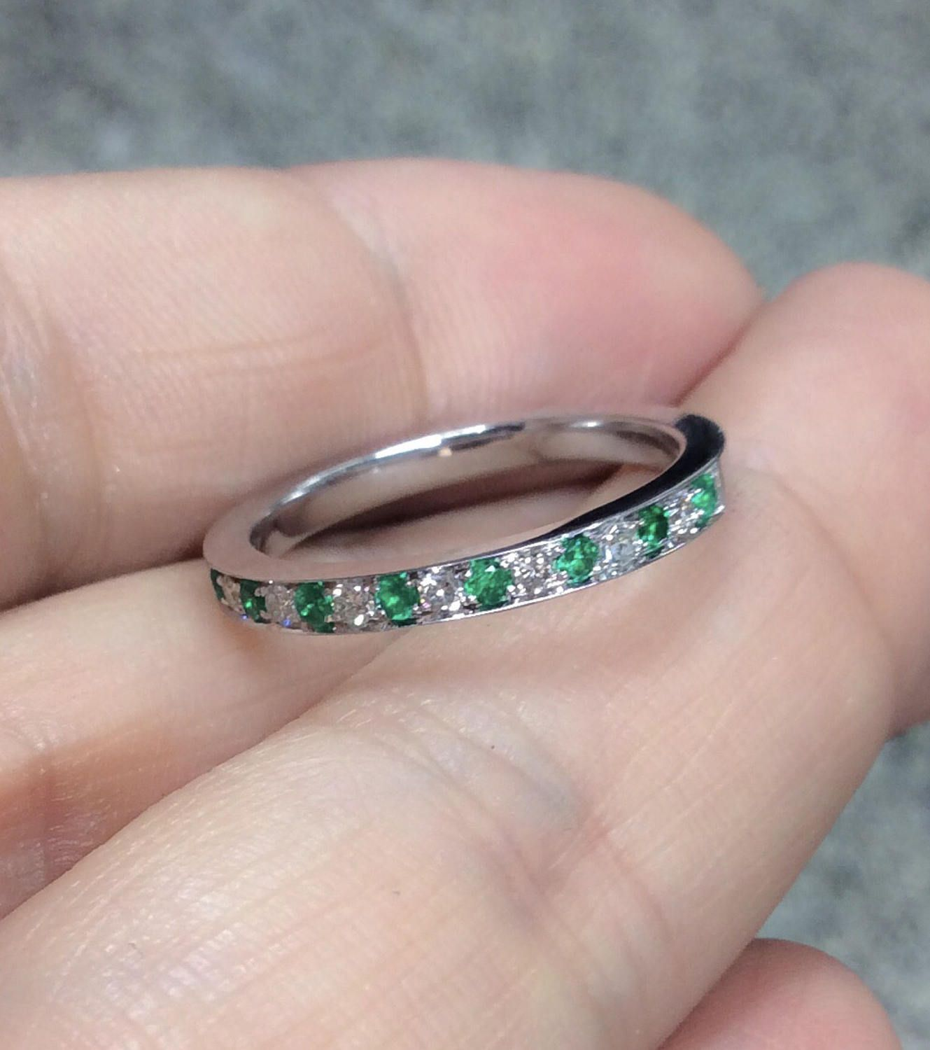 Half Eternity Pave Band with Alternating Emeralds & Diamonds 2mm ...