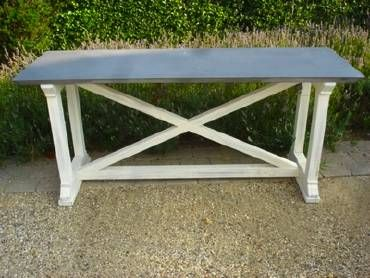 U0027Xu0027 Base Desk Or Table With Zinc Top Made To Order, Custom Sizes