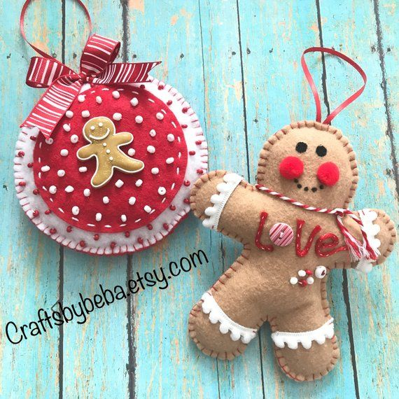 Gingerbread Ornaments / Christmas Gingerbread Ornaments / Set of 2