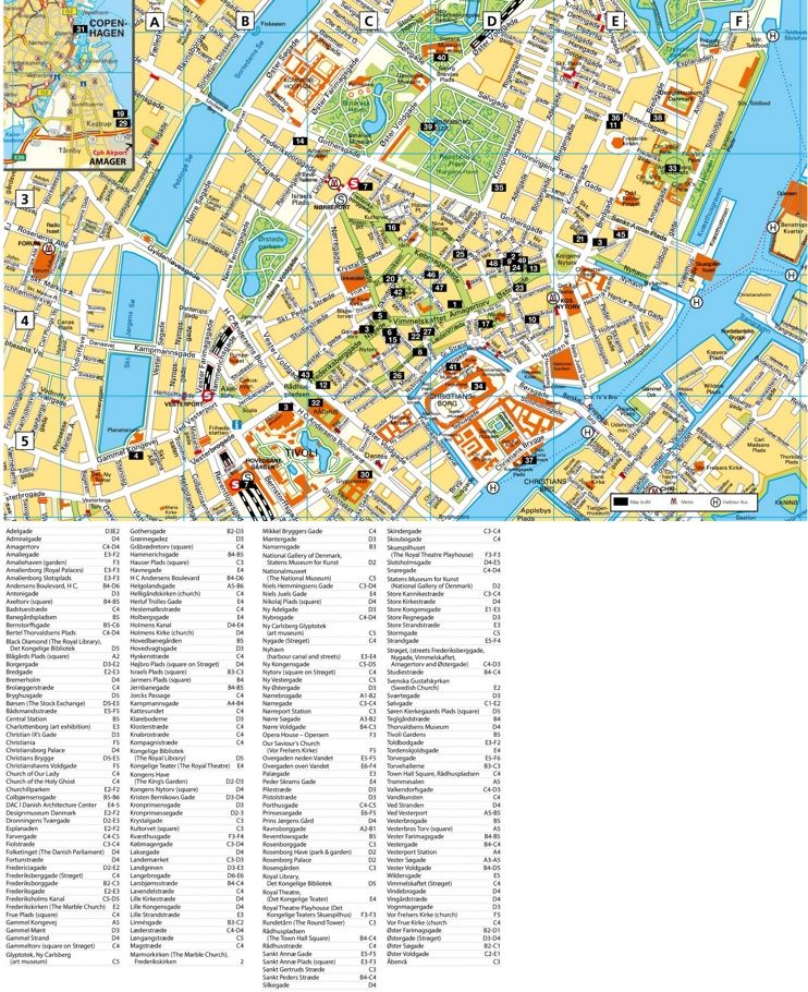 Copenhagen tourist attractions map Denmark Pinterest