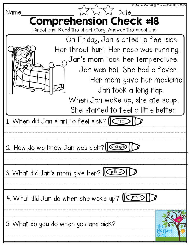 1th Grade Worksheets : Reading comprehension checks for october no prep 문법 및 영어