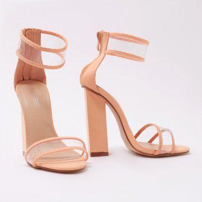 20b3a2c6697 Brink Clear Perspex Cuff High Heels in Orange Faux Suede