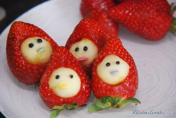 Echa un vistazo a receta de frutas para niños   muñecos de fresa ...