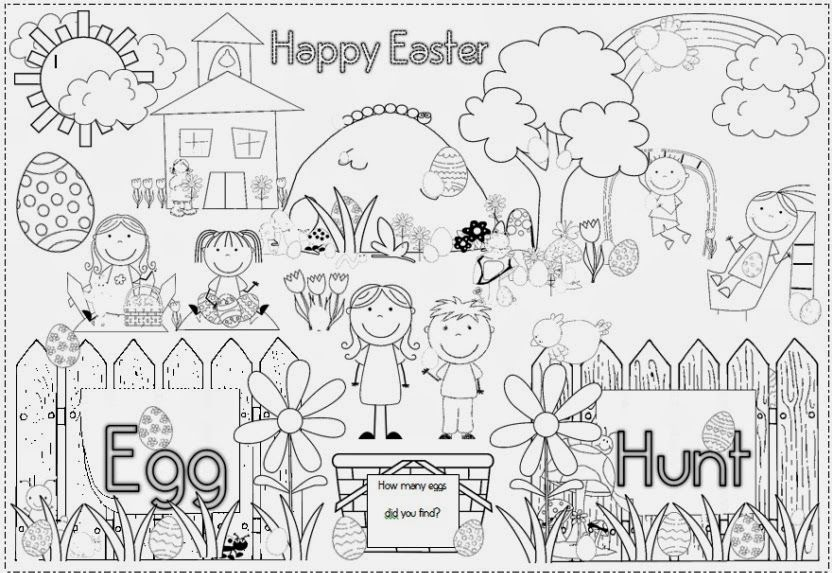 Egg Hunt Colouring Page With Images Easter Art Easter