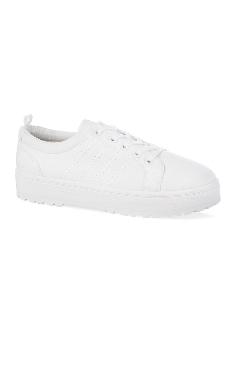White Cleated Sole Trainers | White