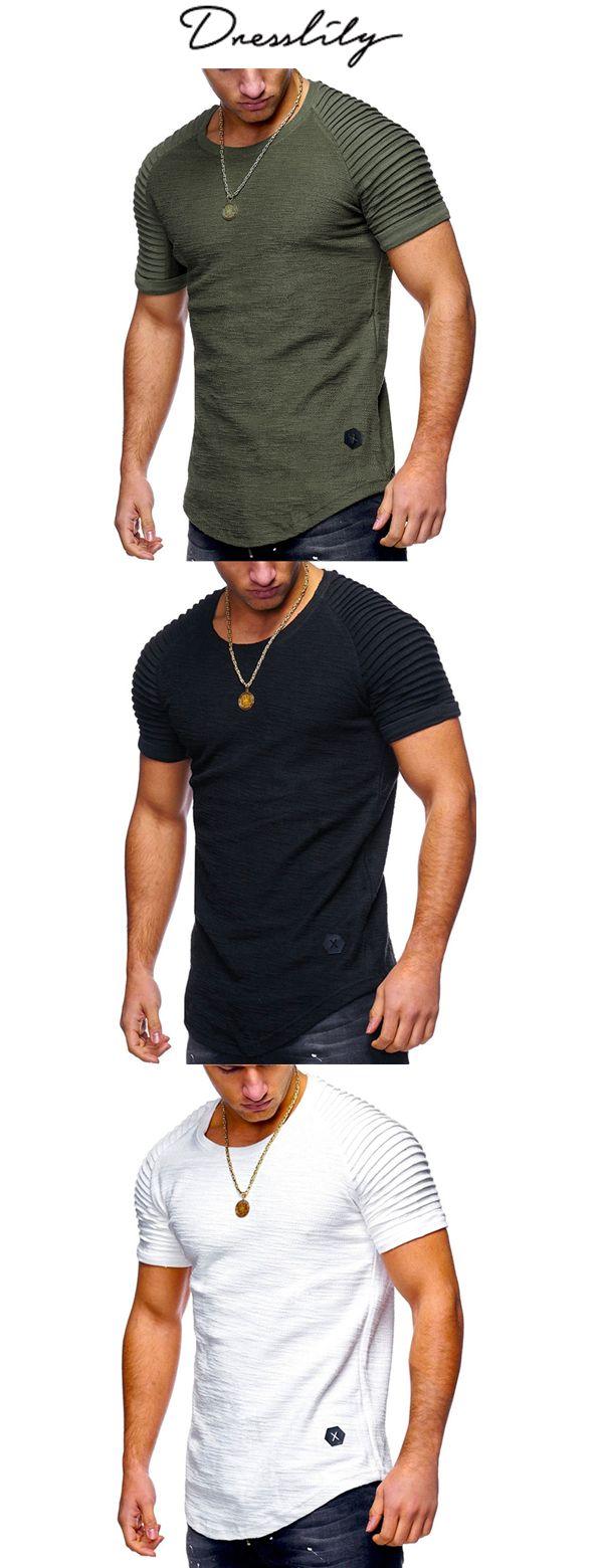 44bbc6df Pleated Sleeve Curved Hem Patch T-shirt. Extra 12% off code: DL123  #dresslily #tshirts #menfashion