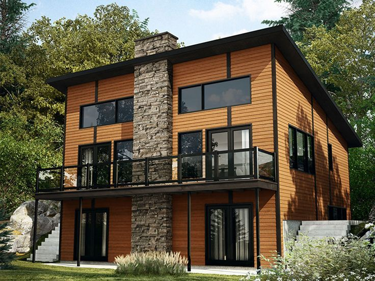 Small Contemporary Mountain Home Plans: 027H-0458: Modern Mountain House Plan Fits A Narrow Lot