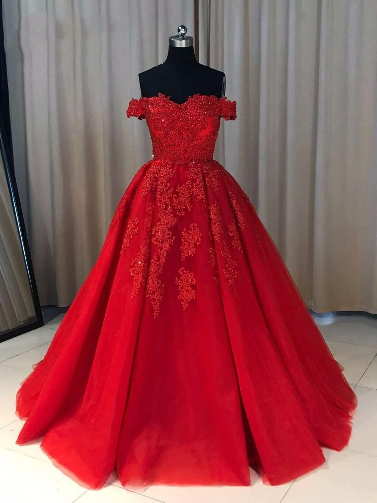 Ball Cown Prom Dresses Off-the-shoulder Sweep Train Long Red Prom ...