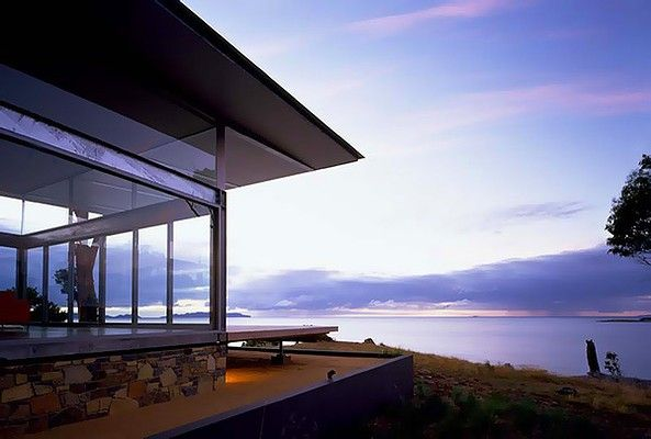 Avalon Coastal Retreat, Swansea, Tasmania. The house, which comes with its own secluded beach, has three bedrooms with queen-size, Stuart Houghton-made Tasmanian oak beds. Avalon costs $770 a night for a maximum of six people.