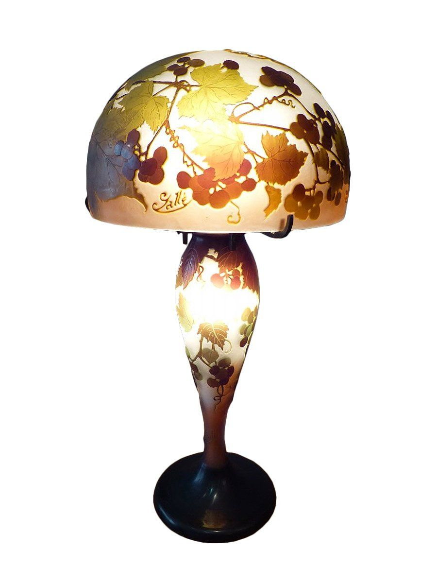 Emile Gallé lampe champignon verre Multicouche à décor de