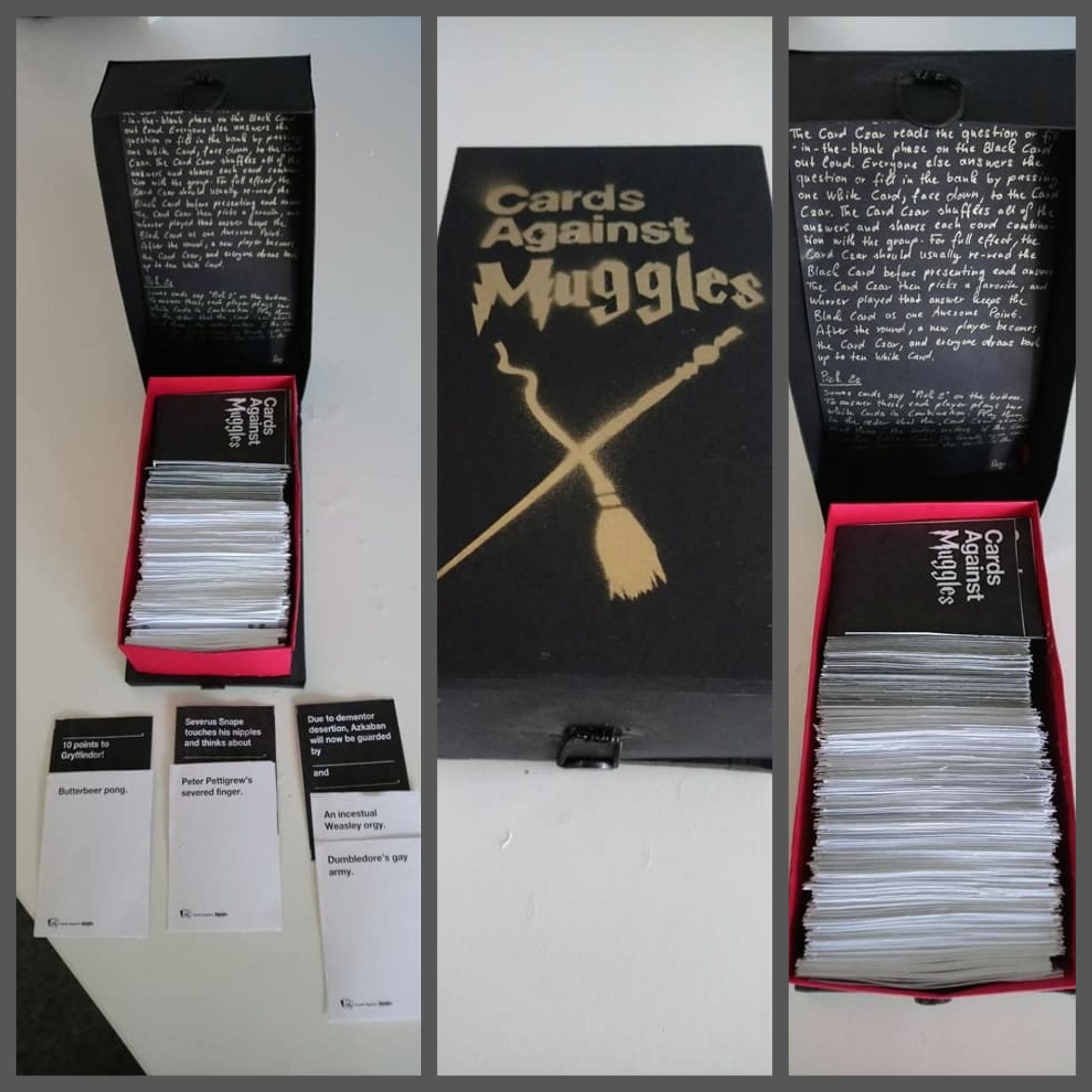 Cards against muggles game handmade based on templates