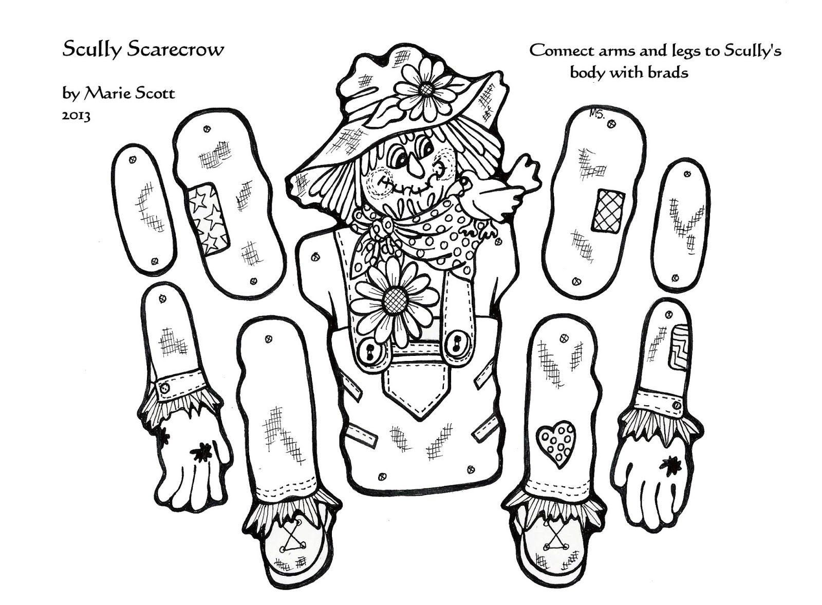 halloween scarecrow coloring pages | ősz | Pinterest | Scarecrows ...