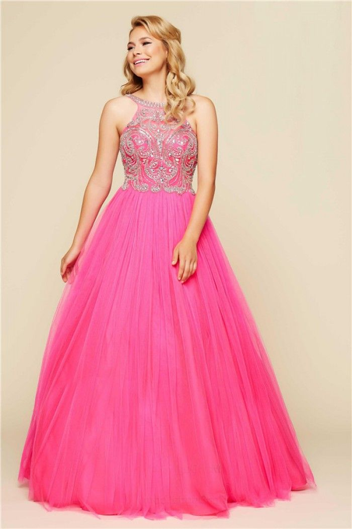 Ball Gown Open Back Hot Pink Tulle Beaded Prom Dress With Straps ...