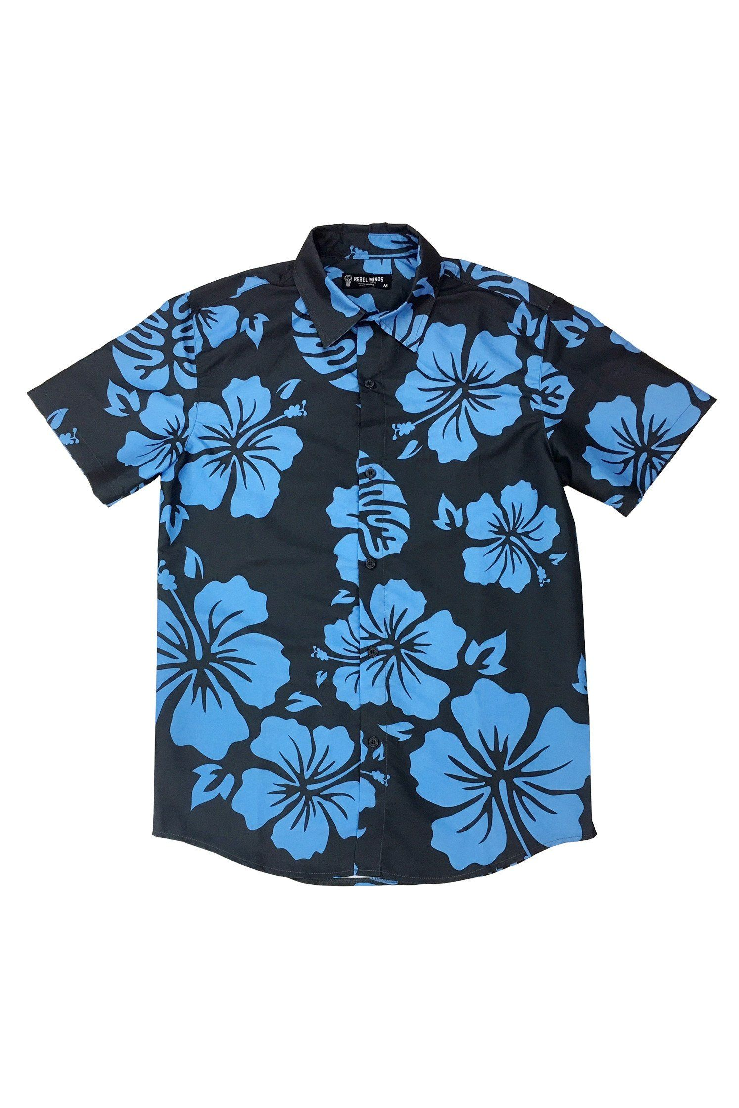 Royal Blue Hawaiian Flower Button Down Ss Products Pinterest