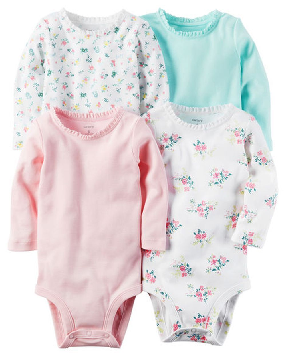 Carter/'s 4 Pack Long Sleeve Floral Bodysuits Set Girls 12 months NEW NWT