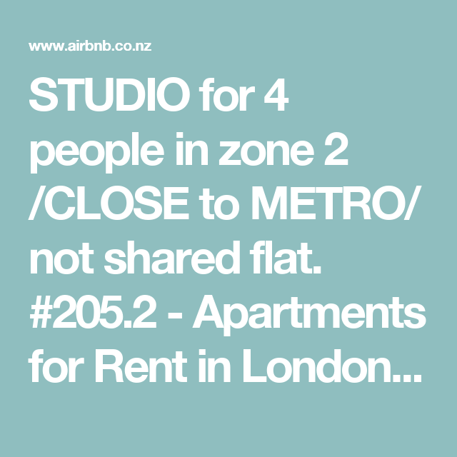 Apartments For Rent In London Uk: STUDIO For 4 People In Zone 2 /CLOSE To METRO/ Not Shared