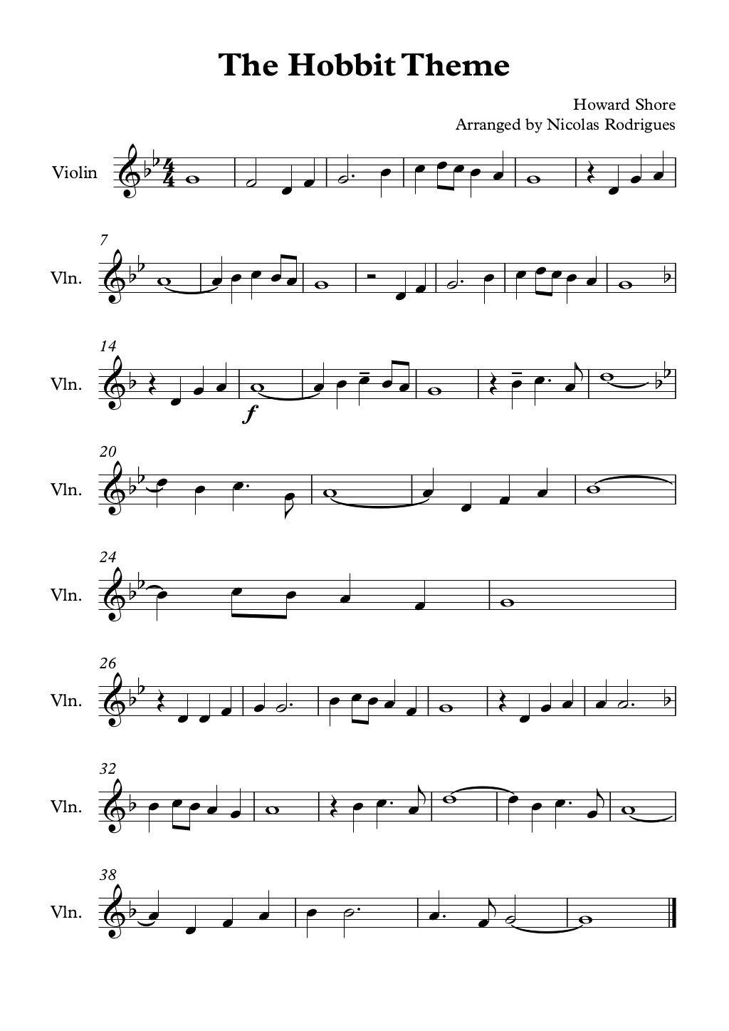 The Hobbit Theme Violin By Nicolas Rodrigues Via