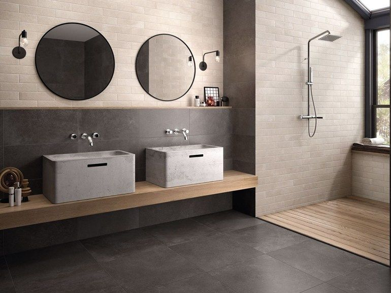 Wall floor tiles with concrete effect brik moov ivory by ceramiche