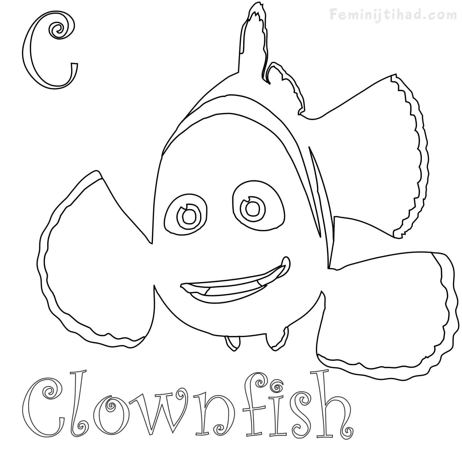 C For Clownfish Coloring Pages Printable Free Coloring Sheets Fish Coloring Page Clown Fish Animal Coloring Pages
