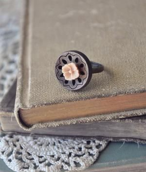 boho flower ring in peach by bellehibou on Etsy