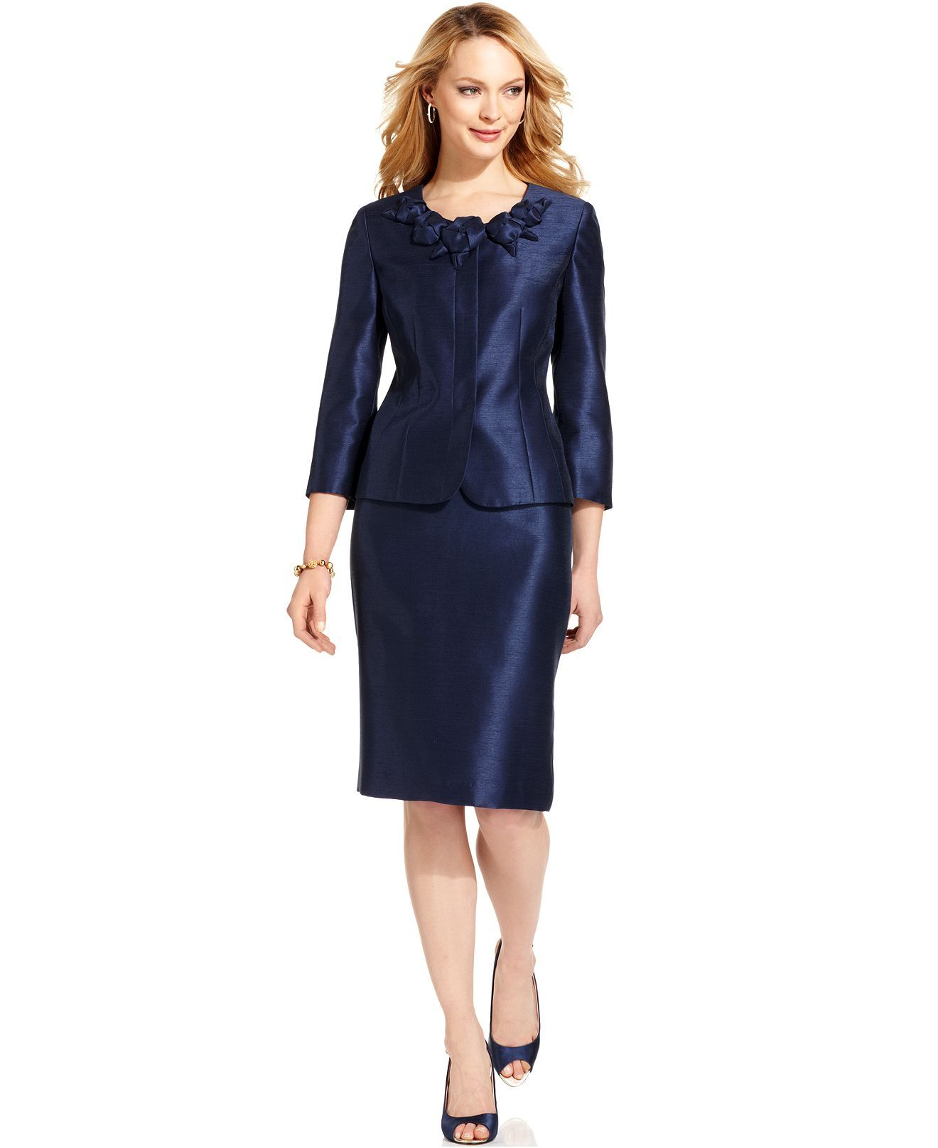 Kasper Suit Three Quarter Sleeve Shantung Jacket Skirt Womens