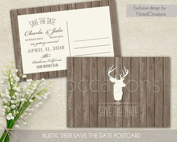 The deer antler rustic  save the date has a barn wood background, trendy deer head and antlers and fun fonts and stylings.