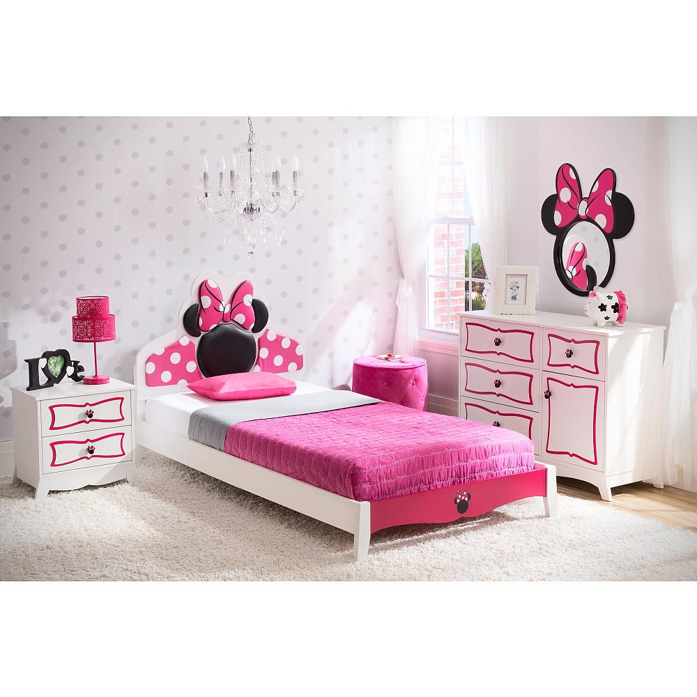 Disney minnie mouse twin bedroom collection white pink for Chambre bebe toys r us