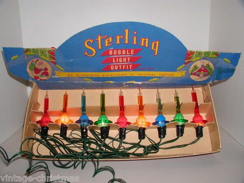 Vintage Box of 9 Paramount Sterling C 6 Christmas Bubble Lights