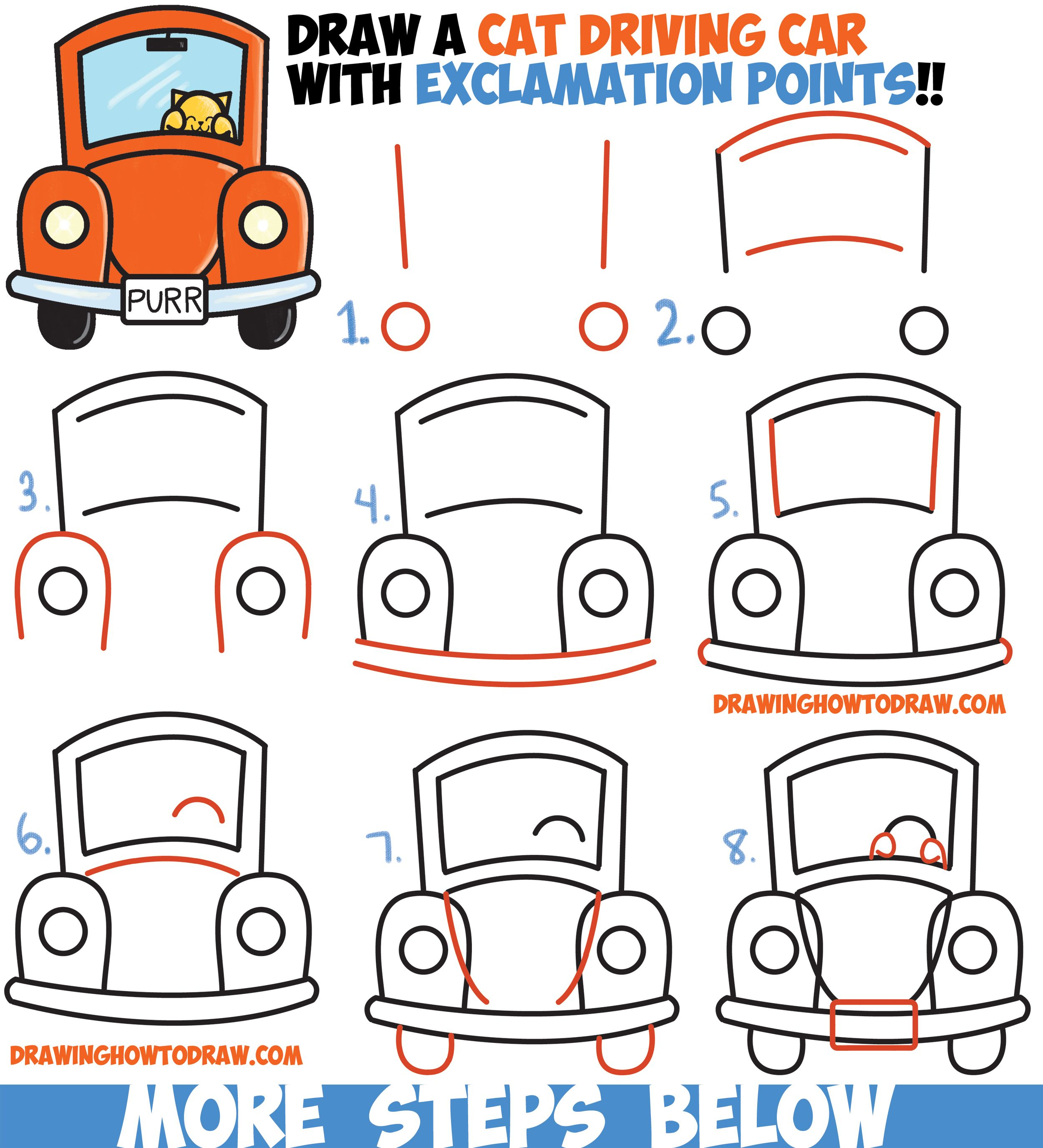 How To Draw Cute Cartoon Cat Driving A Car From