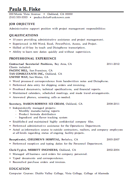 Project Management Skills Resume Resume Sample Administrative Support Project Management