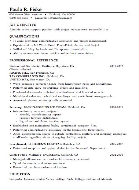 Resume Sample Administrative Support Project Management Resume Skills Resume Skills Section Administrative Assistant Resume