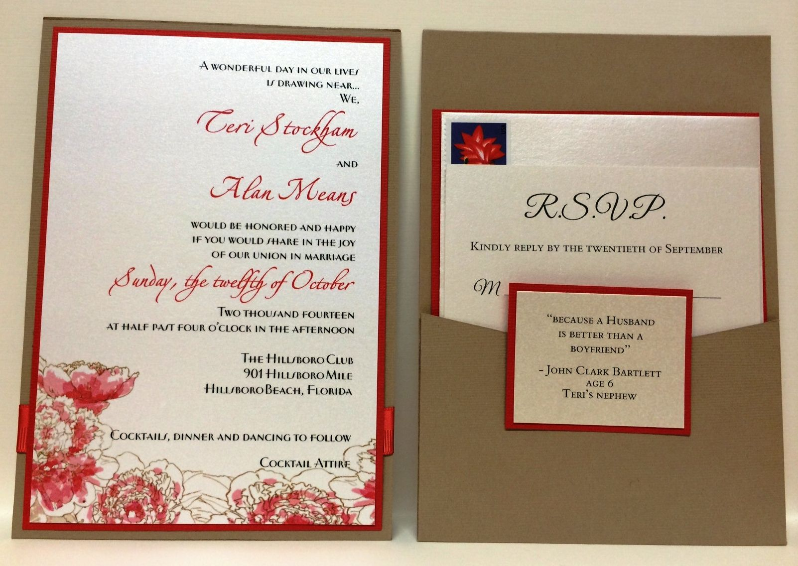 coral and tan wedding invitation suite by fort lauderdale