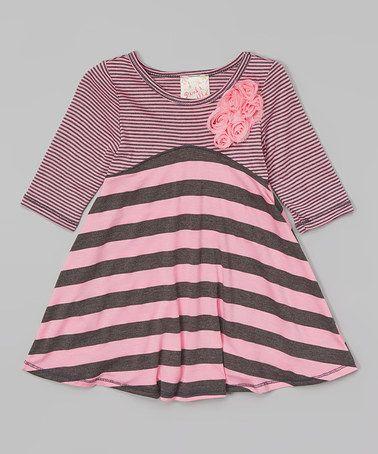 Another great find on #zulily! Pink & Charcoal Flower Stripe Dress - Toddler & Girls #zulilyfinds