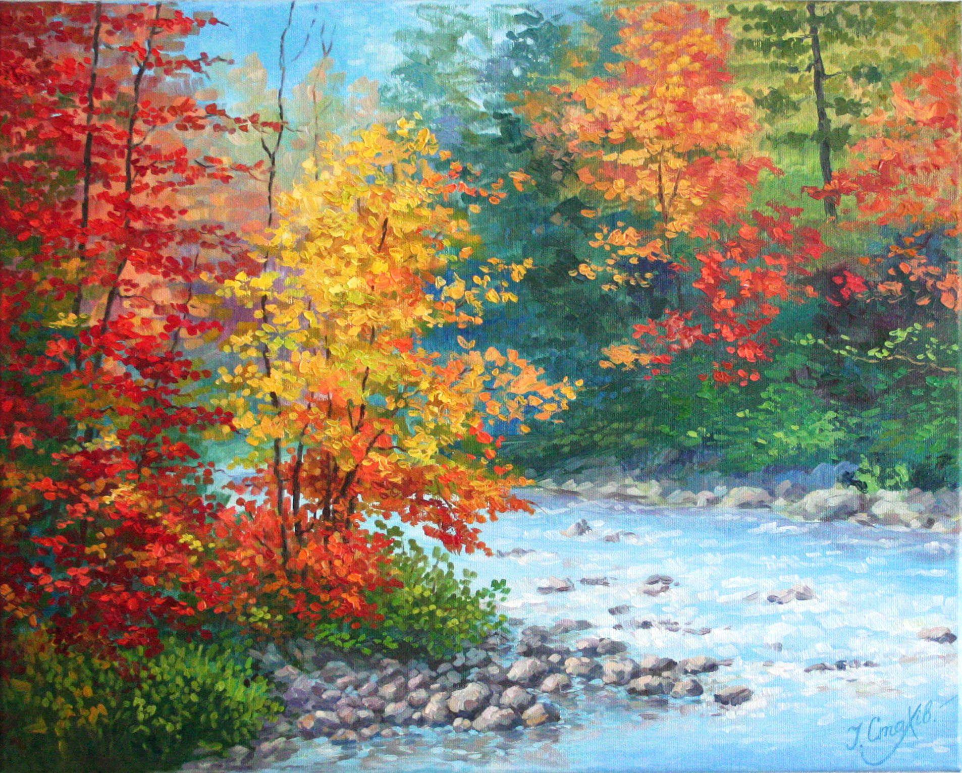 Autumn oil painting landscape wall art fall wall decor
