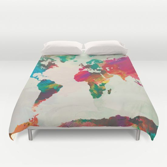 Watercolorworldmapduvetcoverbypazwaz 9900 room ideas watercolor world map duvet cover gumiabroncs Gallery