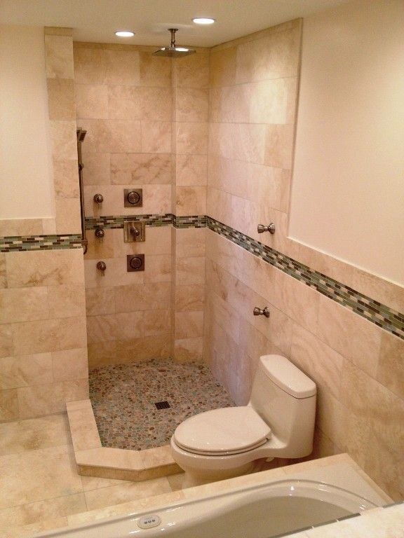 Tile Shower With Rain Head And Body Jets Master Shower