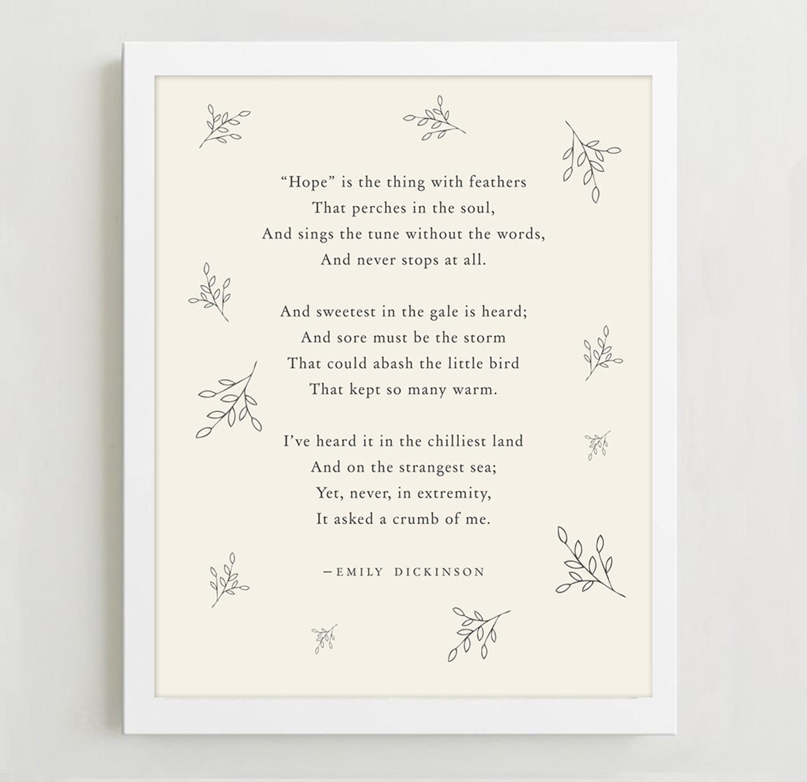 Emily Dickinson Hope Is The Thing With Feathers Poetry Art