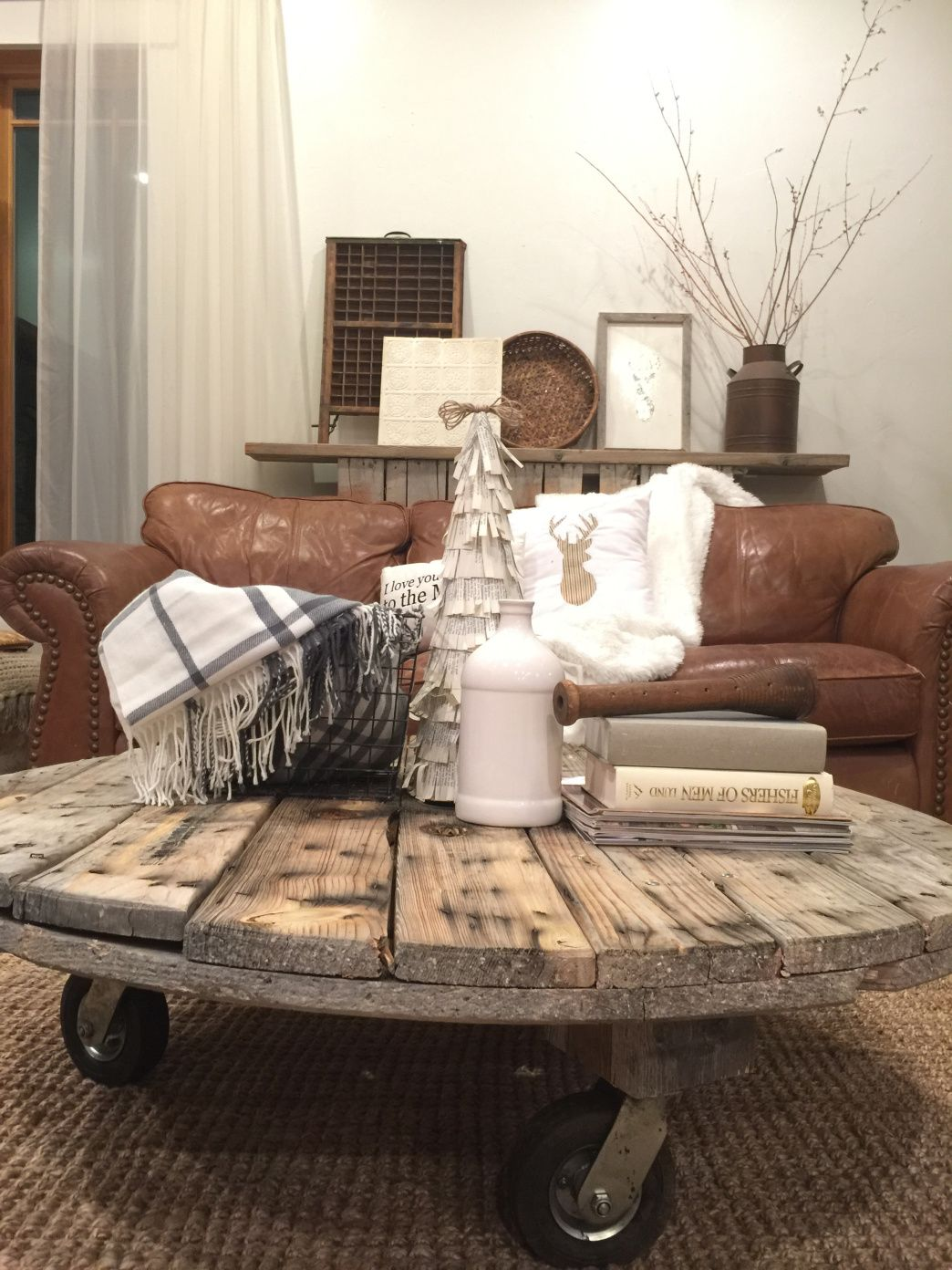 DIY Wire Spool Coffee Table Farmhouse style coffee table