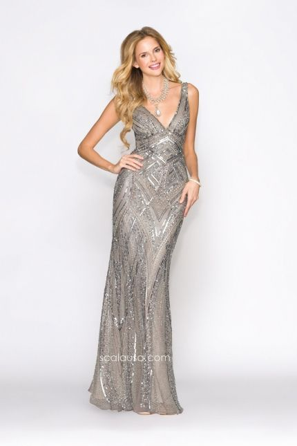 Look fabulous in this elaborate sequin evening gown from Scala Prom 47680. The wide v-neck and open back will make you look stunning on your special night. Enchant the crowd at prom this year.