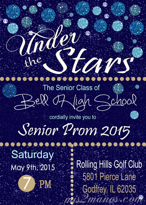under the stars invitation graduation invitation or prom party