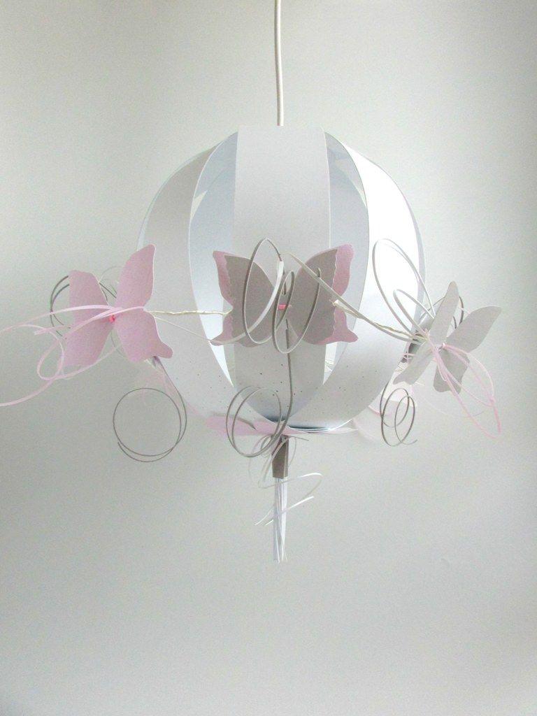 suspension bebe plafonnier ronde des papillons rose gris. Black Bedroom Furniture Sets. Home Design Ideas