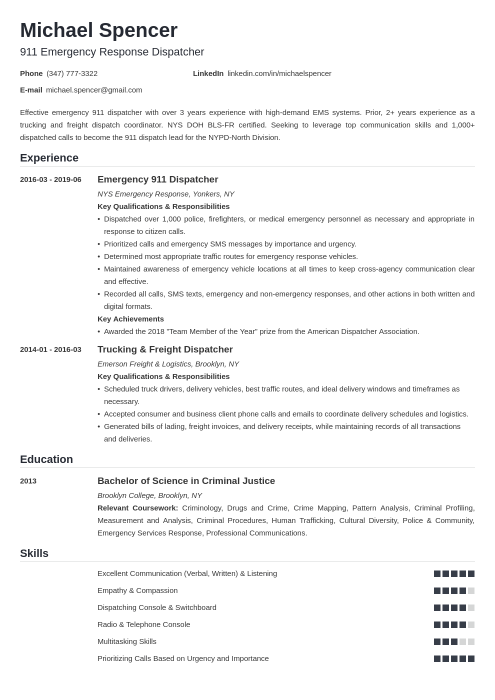 Dispatcher Resume Example Template Nanica Resume Examples Job Resume Examples Resume