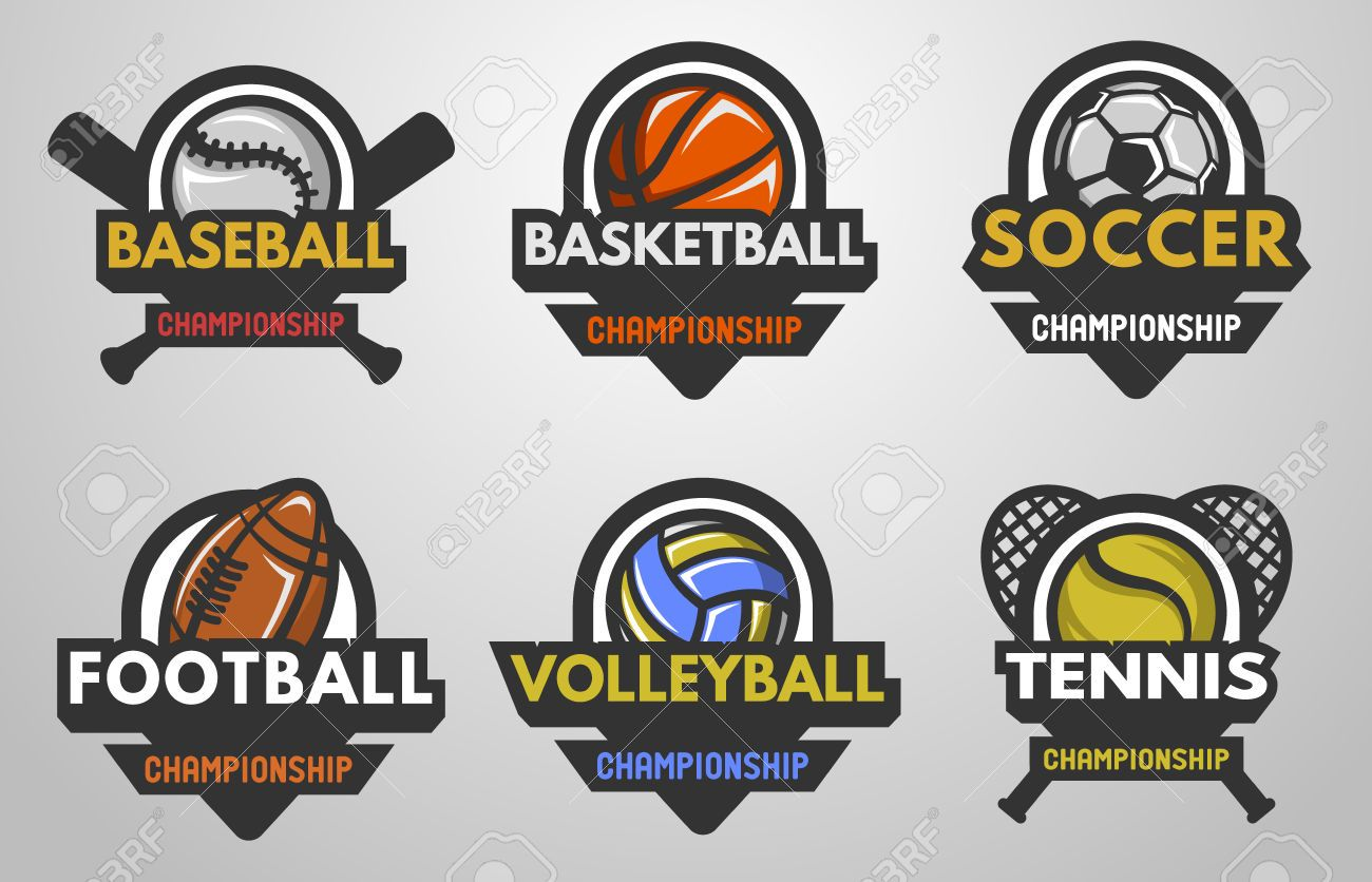 Set Of Sports Logos Baseball Basketball Football Soccer Volleyball Sports Logo Logo Basketball Volleyball