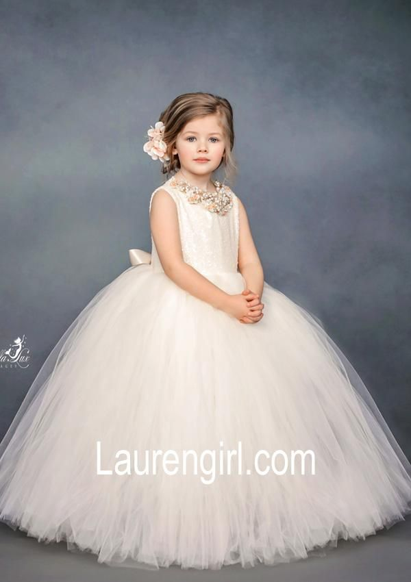 9be60dc3e65 Charmingly Ivory Cream Sequin Flower Girl Gown in 2019