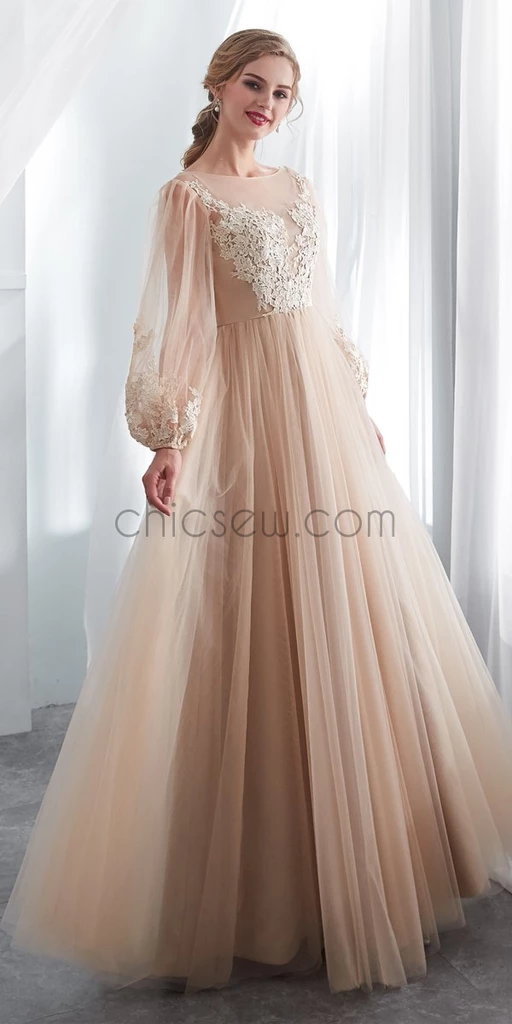 Long Sleeves Round Neck Romantic Modest Lace Applique Long Prom Dress, Wedding Dresses LMX1156 - Wedding dresses lace, Champagne evening dress, Trendy dresses, Wedding dress patterns, A line prom dresses, Nice dresses - Long Sleeves Round Neck  Romantic Modest  Lace Applique  Long Prom Dress, Wedding Dresses LMX1156 The dress can be custom made in size and color for free, lace up back or zipper back are all available  Description 1, Material tulle, lace, elastic silk like satin  2, Color picture color or other colors, there are many