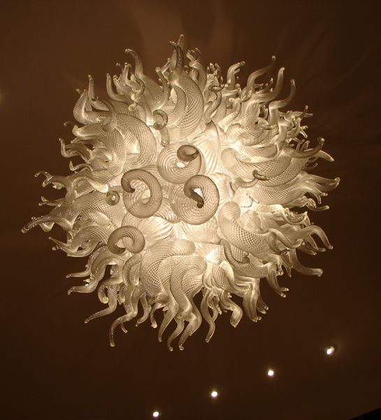 blown away by this handblown glass chandelier