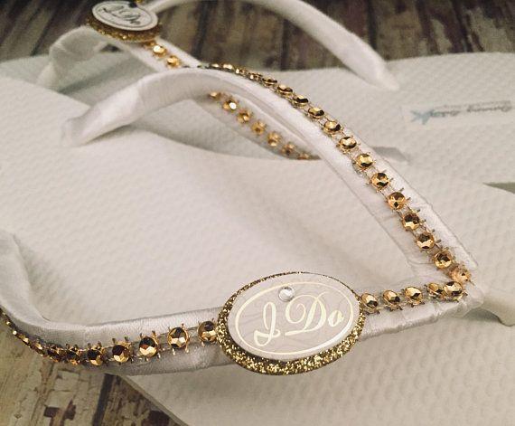5dae6454f I Do Bridal Flip Flops I Do Gold Flip Flops I Do Bridal Sandals White Gold  Wedding Sandals Custom Flip Flops Beach Wedding Dancing Shoes