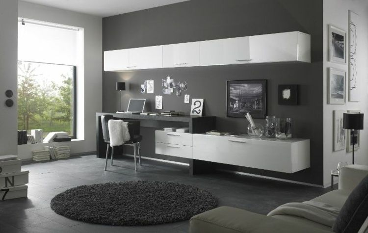 Aménagement de bureau moderne dans un salon design meubles